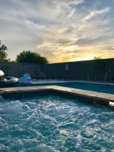 beautiful sunset from the hot tub - for 12!